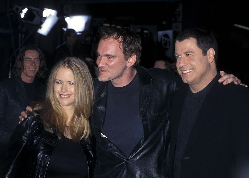 """HOLLYWOOD - MAY 10:   Actress Kelly Preston, filmmaker Quentin Tarantino and actor John Travolta attend the """"Battlefield Earth"""" Hollywood Premiere on May 10, 2000 at Mann's Chinese Theatre in Hollywood, California. (Photo by Ron Galella, Ltd./Ron Galella Collection via Getty Images)"""
