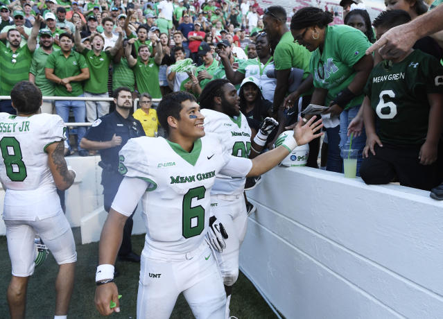 In four years at North Texas, Mason Fine threw for 12,505 yards and 93 touchdowns. (AP)