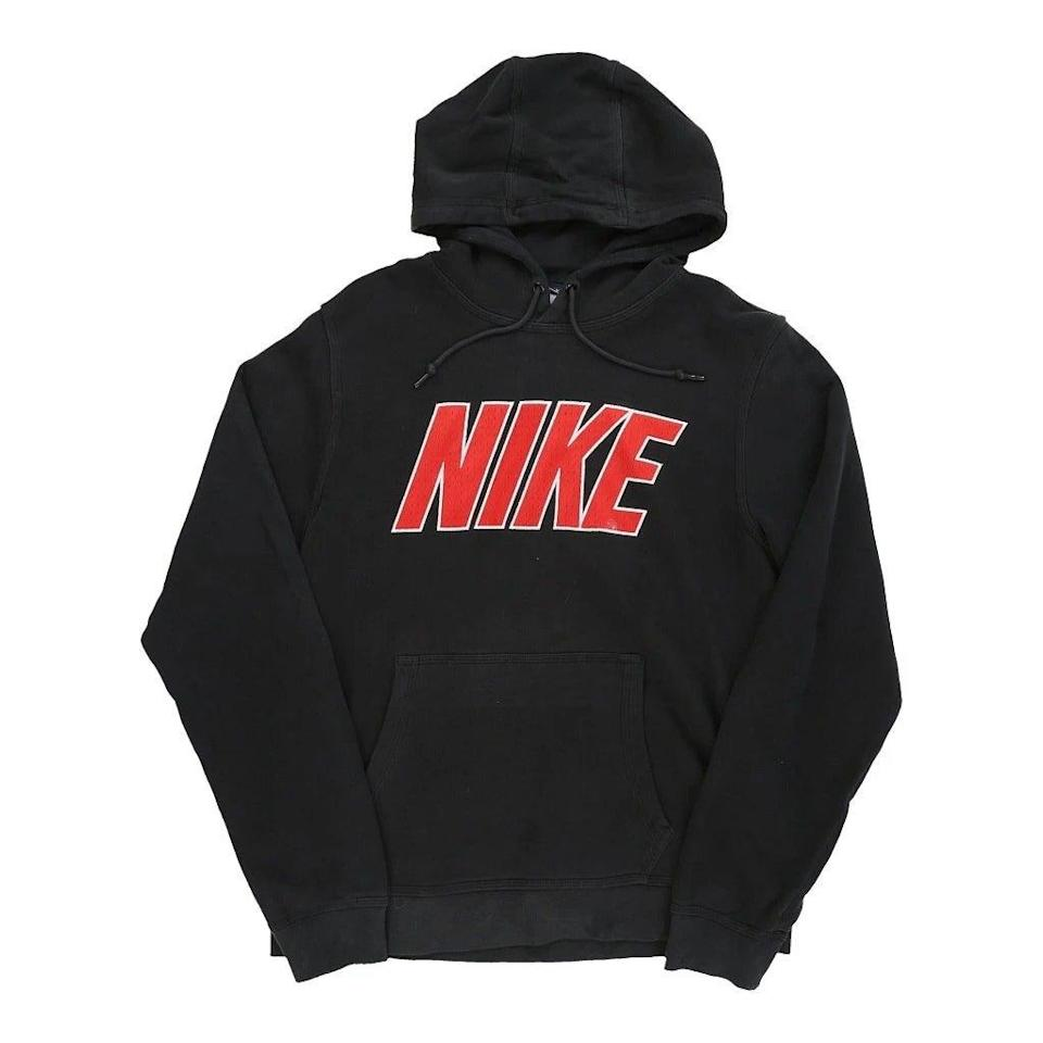 "<br><br><strong>Nike</strong> Large Sweatshirt, $, available at <a href=""https://www.thrifted.com/collections/vintage-retro-womens-sportswear/products/vintage-nike-hoodie-womens-black-medium-70263"" rel=""nofollow noopener"" target=""_blank"" data-ylk=""slk:thrifted.com"" class=""link rapid-noclick-resp"">thrifted.com</a>"