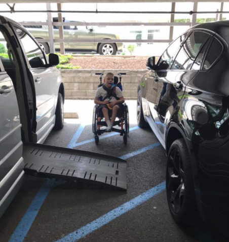 Shanna Mondy's photo of her son unable to get up the ramp into their van went viral in 2018. Source: Facebook/ Shanna Mondy
