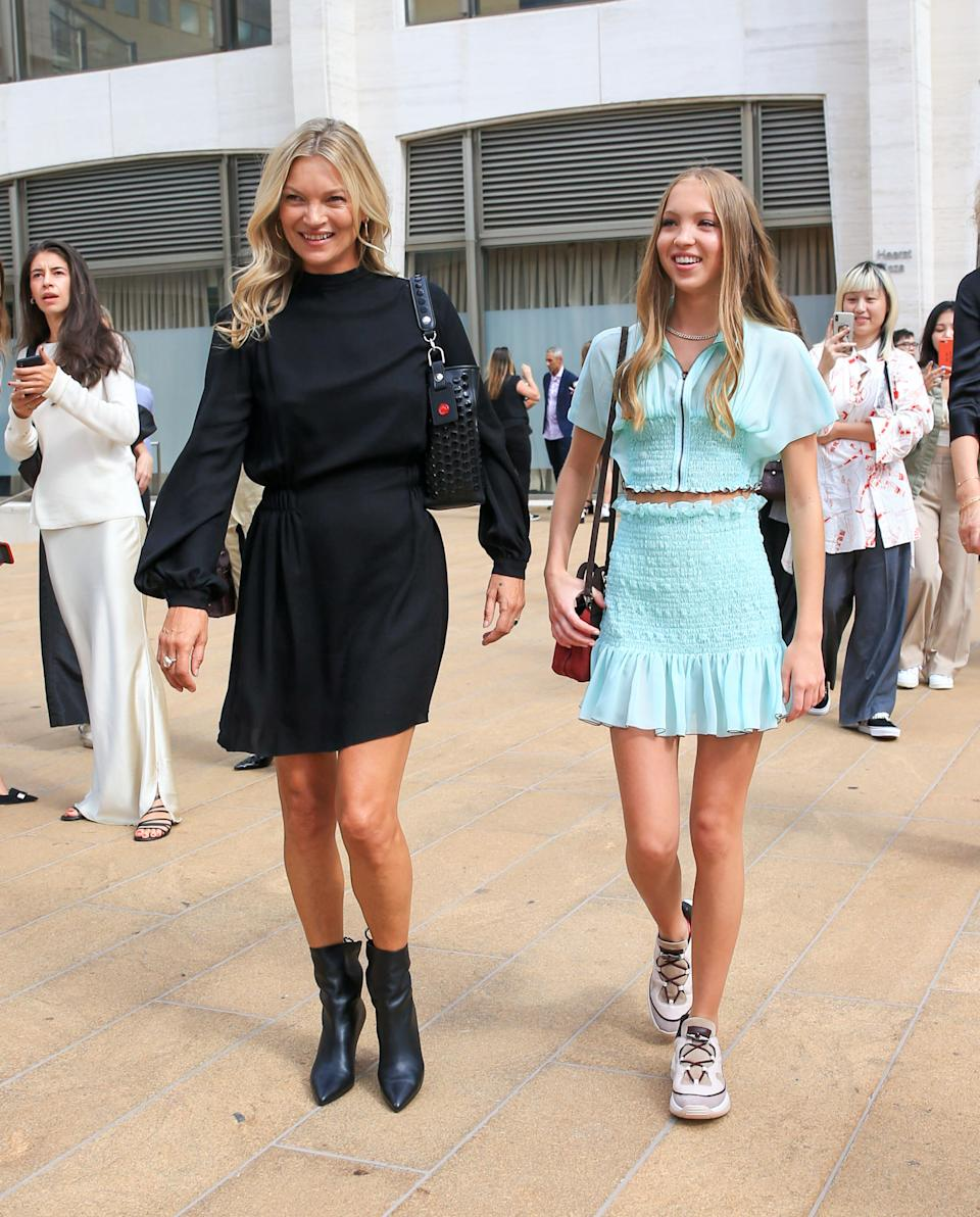 The famous supermodel and her only child looked chic as they arrived at the Longchamp show [Image: Getty]