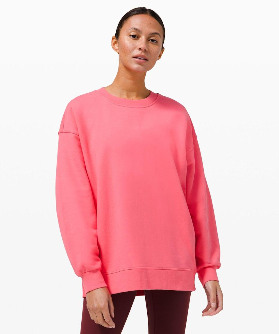 """<h2>Lululemon Perfectly Oversized Crew</h2><br><strong>Why It's A Best Buy</strong>: We really just can't quit this precisely-proportioned pullover — and neither can nearly 900 reviewers. With a butt-covering hem and blousy sleeves, it's the perfect out-and-about item when the weather's chilly, but not completely cold. (Also file under: a fit that's reminiscent of a <a href=""""https://www.refinery29.com/en-us/2017/08/169980/princess-diana-90s-outfits-style-photos"""" rel=""""nofollow noopener"""" target=""""_blank"""" data-ylk=""""slk:throwback Princess Di outfit"""" class=""""link rapid-noclick-resp"""">throwback Princess Di outfit</a>.)<br><br><strong>The Review</strong>: """"Already have this in white and I love this color!! Perfect sweatshirt. Do not take this away, it's perfect! Love that it covers the butt (I'm 5'8"""", 150 lbs in a medium) and it's slightly loose and just awesome."""" — Alice, <a href=""""https://shop.lululemon.com/p/womens-outerwear/Perfectly-Oversized-Crew/_/prod9590058?color=47750"""" rel=""""nofollow noopener"""" target=""""_blank"""" data-ylk=""""slk:Lululemon.com"""" class=""""link rapid-noclick-resp"""">Lululemon.com</a> reviewer<br><br><strong>Lululemon</strong> Perfectly Oversized Crew, $, available at <a href=""""https://go.skimresources.com/?id=30283X879131&url=https%3A%2F%2Fshop.lululemon.com%2Fp%2Fwomens-outerwear%2FPerfectly-Oversized-Crew%2F_%2Fprod9590058%3Fcolor%3D47750"""" rel=""""nofollow noopener"""" target=""""_blank"""" data-ylk=""""slk:Lululemon"""" class=""""link rapid-noclick-resp"""">Lululemon</a>"""