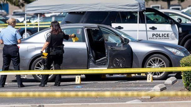 PHOTO: Police investigate a car where a retired Cal State Fullerton administrator was stabbed to death, Aug. 19, 2019 in Fullerton, Calif. (Paul Bersebach/The Orange County Register via AP)