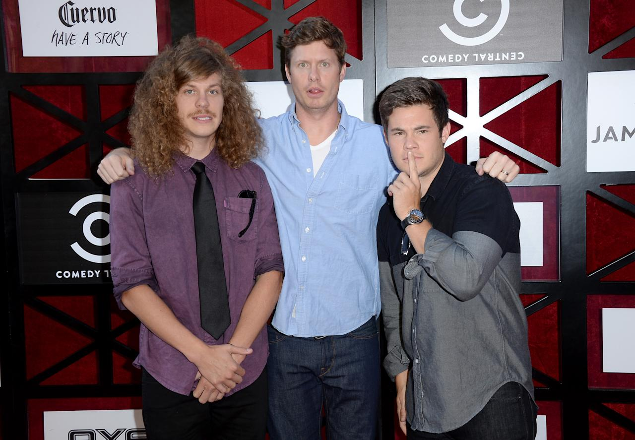 "Blake Anderson, Anders Holm, and Adam DeVine attend ""The Comedy Central Roast of James Franco"" at Culver Studios on August 25, 2013 in Culver City, California."