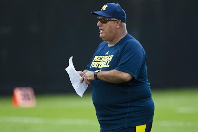 Michigan offensive coordinator Al Borges during NCAA college football practice, Tuesday, Aug. 9, 2011, in Ann Arbor, Mich. (AP Photo/Tony Ding)