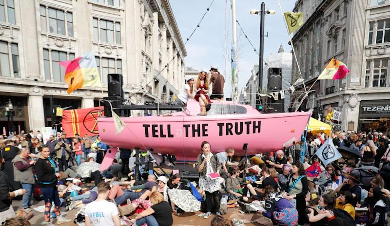 Extinction Rebellion blockade at Oxford Circus in London, April 2019