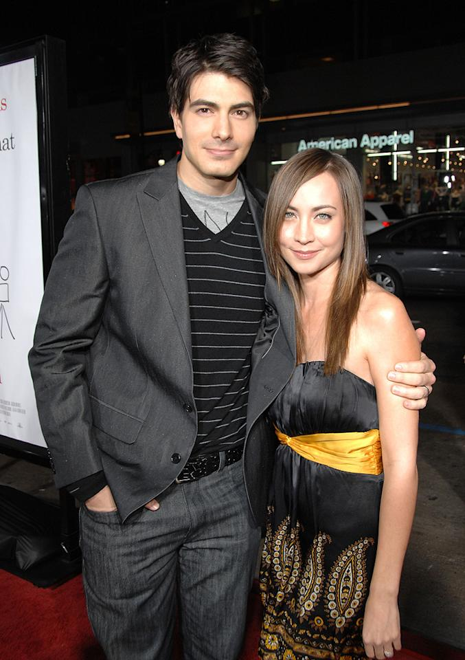 """<a href=""""http://movies.yahoo.com/movie/contributor/1808522591"""">Brandon Routh</a> and wife Courtney at the Los Angeles premiere of <a href=""""http://movies.yahoo.com/movie/1809958867/info"""">Zack and Miri Make a Porno</a> - 10/20/2008"""