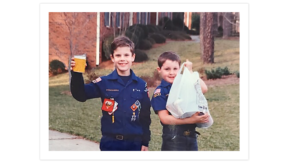 Grant Lackey, left, started out as a Cub Scout, then later met David Menna through a church-affiliated Boy Scout troop.