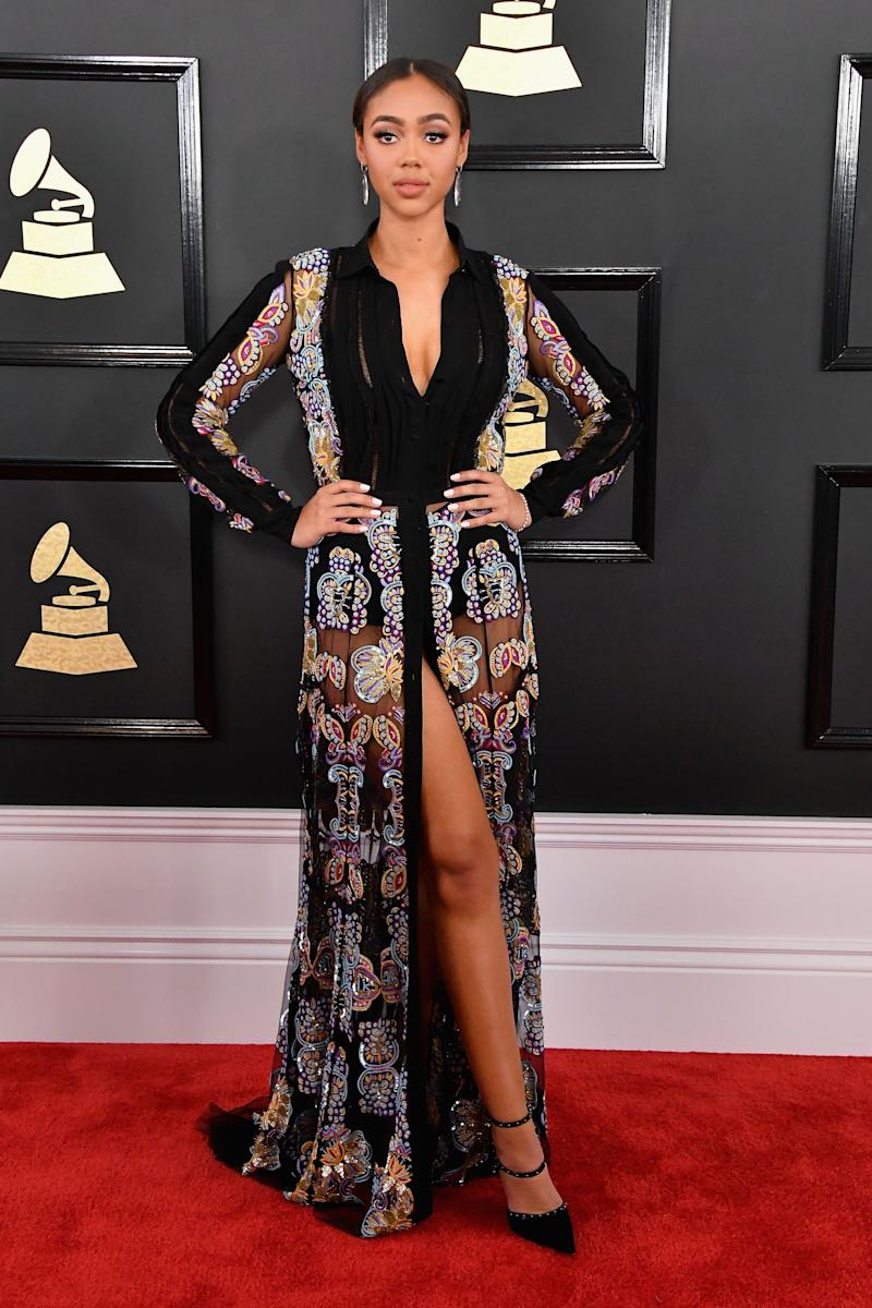 LOS ANGELES, CA - FEBRUARY 12: Model Bella Harris attends The 59th GRAMMY Awards at STAPLES Center on February 12, 2017 in Los Angeles, California. (Photo by Steve Granitz/WireImage)