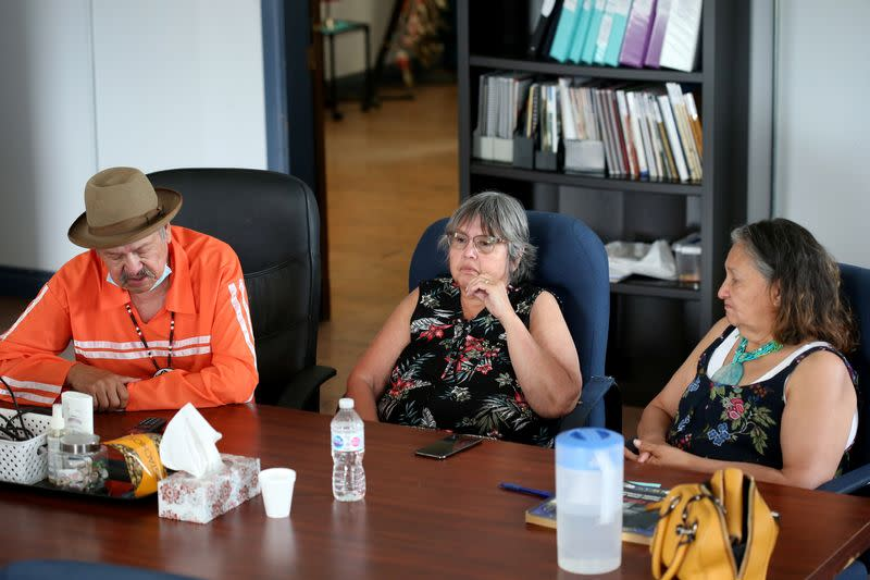 Ernie Daniels and his sisters participate in an interview at a former residential school in Portage La Prairie