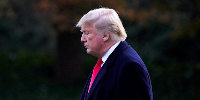 FILE PHOTO: U.S. President Donald Trump departs for travel to Louisiana from the White House in Washington, U.S. November 14, 2019. REUTERS/Jonathan Ernst/File Photo