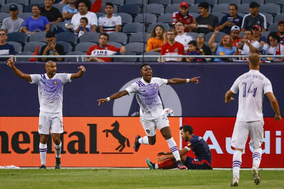 Andres Perea celebrates after scoring against the Chicago Fire at Soldier Field.