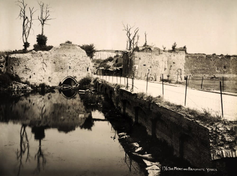 The moat and the ramparts at Ypres in Belgium, photographed soon after the end of World War One, circa March 1919. This image is from a series documenting the damage and devastation that was caused to towns and villages along the Western Front in France and Belgium during the First World War. (Photo by Popperfoto/Getty Images)