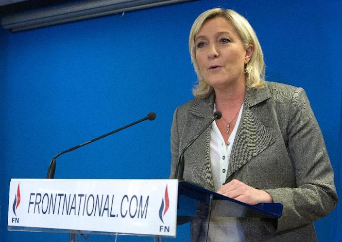 France's far-right National Front leader Marine Le Pen delivers a speech after the announcement of the results in the French regional elections in Nanterre on March 29, 2015 (AFP Photo/Miguel Medina)