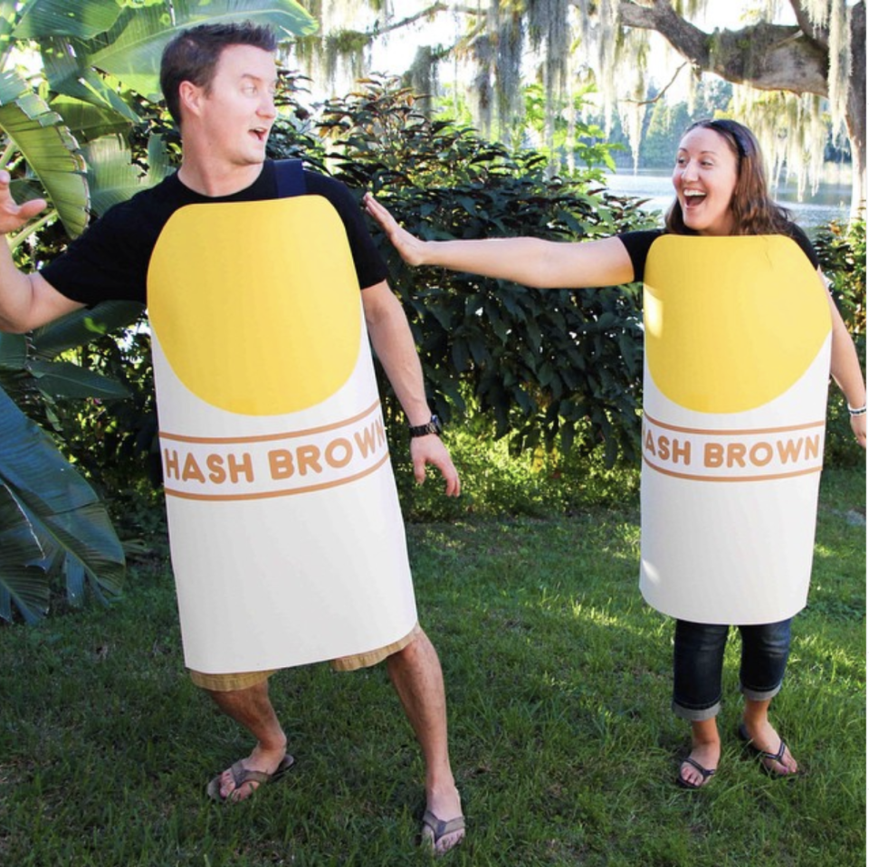 """<p>How punny is this? Just some hash browns playing a game of tag to create a #HashTag. See the DIY costume tutorial <a href=""""https://www.thinkingcloset.com/2014/10/13/punny-hashtag-halloween-costume-tutorial/"""" rel=""""nofollow noopener"""" target=""""_blank"""" data-ylk=""""slk:here"""" class=""""link rapid-noclick-resp"""">here</a>.</p>"""