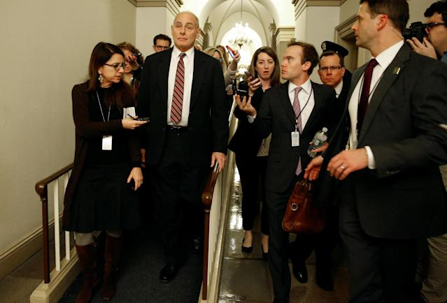 White House chief of staff John Kelly arrives for a meeting on Capitol Hill, Jan. 17, 2018. (Photo: Joshua Roberts/Reuters)