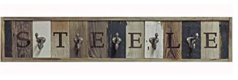 """This Utah-based Amazon Handmade shop specializes in reclaimed barn wood art. Find this <a href=""""https://amzn.to/31uncxW"""" rel=""""nofollow noopener"""" target=""""_blank"""" data-ylk=""""slk:personalized wooden coat rack with metal hooks"""" class=""""link rapid-noclick-resp"""">personalized wooden coat rack with metal hooks</a> for $60."""