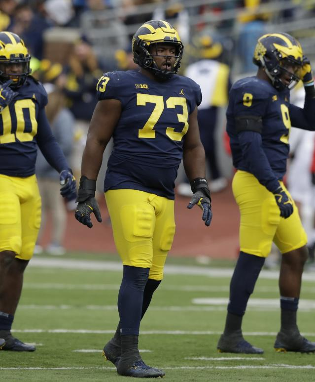 Michigan defensive lineman Maurice Hurst (73) stands at the scrimmage line during the second half of an NCAA college football game against Rutgers, Saturday, Oct. 28,2017, in Ann Arbor, Mich. (AP Photo/Carlos Osorio)