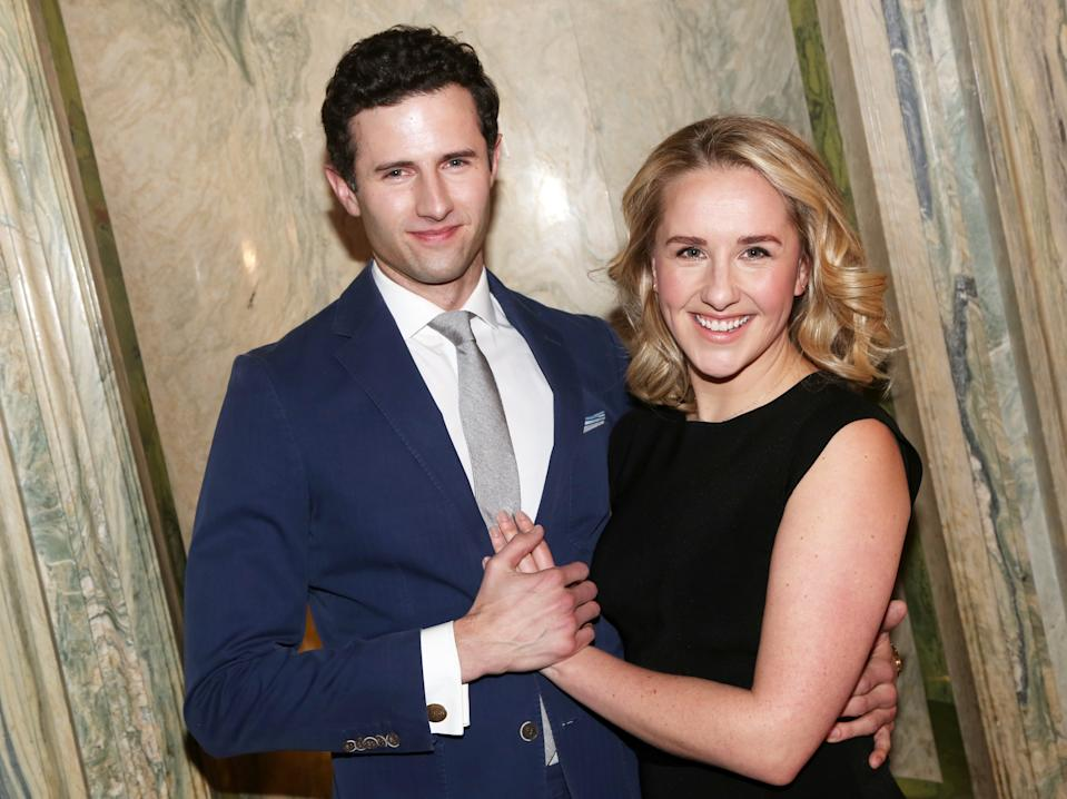 "NEW YORK, NEW YORK - JANUARY 30: Roe Hartrampf and Jeanna de Waal pose at a Meet & Greet for the new cast and creative team of the new musical ""Diana"" on Broadway at The Lotte New York Palace on January 30, 2020 in New York City. (Photo by Bruce Glikas/WireImage)"