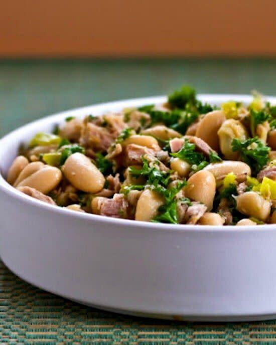 "<strong><a href=""https://kalynskitchen.com/recipe-for-spicy-cannellini-bean-salad/"" rel=""nofollow noopener"" target=""_blank"" data-ylk=""slk:Get the&nbsp;Spicy Cannellini Bean Salad with Tuna, Pepperoncini and Parsley recipe from Kalyn's Kitchen"" class=""link rapid-noclick-resp"">Get the&nbsp;Spicy Cannellini Bean Salad with Tuna, Pepperoncini and Parsley recipe from Kalyn's Kitchen</a></strong>"