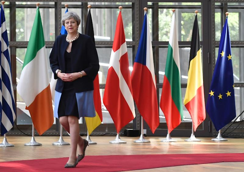 Britain's Prime Minister Theresa May emerged weakened after a snap general election and must now negotiate a complex path towards the exit from the EU as the clock ticks down to a March 2019 deadline (AFP Photo/JOHN THYS                 )
