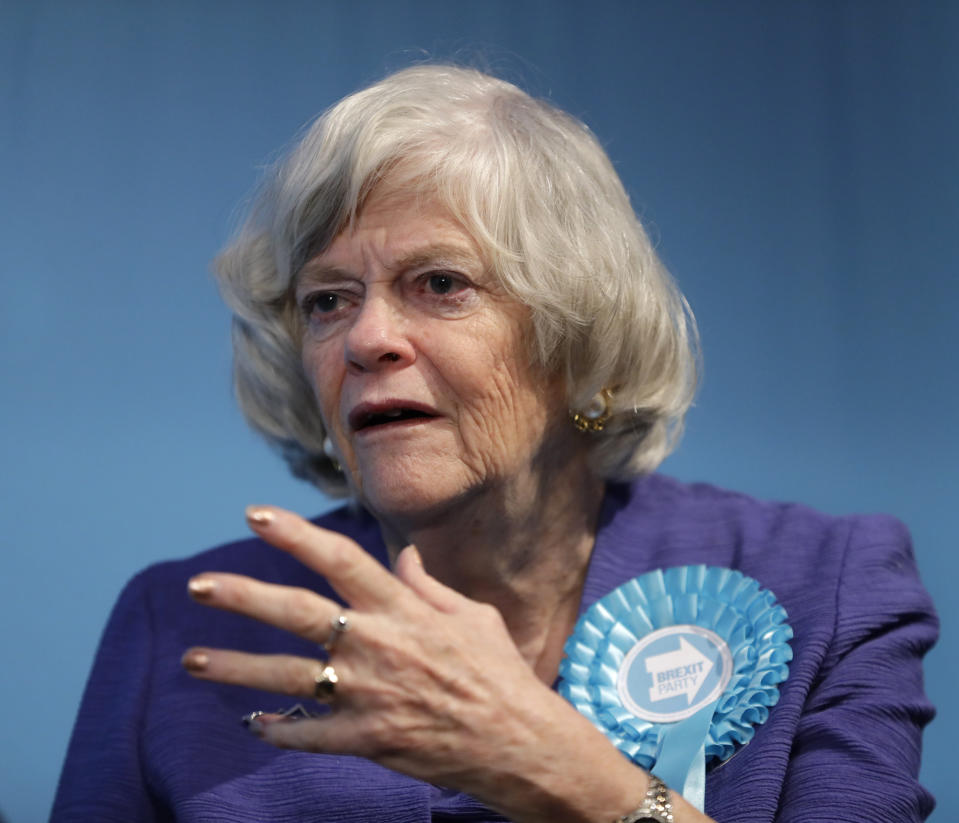 Ann Widdecombe, Brexit Party member and former member of parliament for the Conservative Party, is interviewed after Nigel Farage, Leader of Britain's Brexit Party, spoke on stage at the launch of their policies for the General Election campaign, in London, Friday, Nov. 22, 2019. Britain goes to the polls on Dec. 12. (AP Photo/Kirsty Wigglesworth)