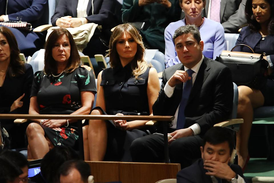 Melania Trump's black dress, which she wore to the <span>United Nations General Assembly</span>, has raised some eyebrows. (Photo: Getty Images)