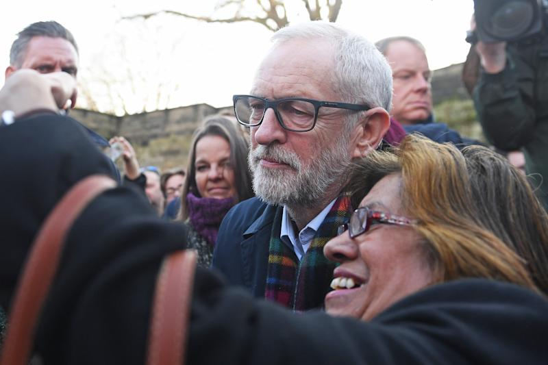 Labour leader Jeremy Corbyn has his photo taken with a supporter in Nottingham, while on the General Election campaign trail.