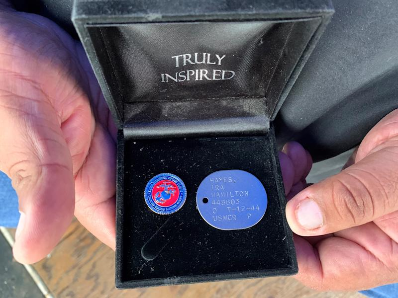 A photo of one of Ira Hayes' dog tags on Feb. 22, 2020.
