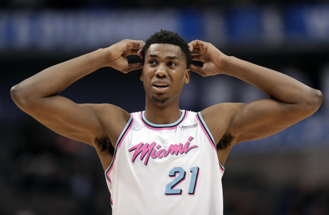 Miami Heat center Hassan Whiteside is due $52.5 million over the next two seasons. (AP)