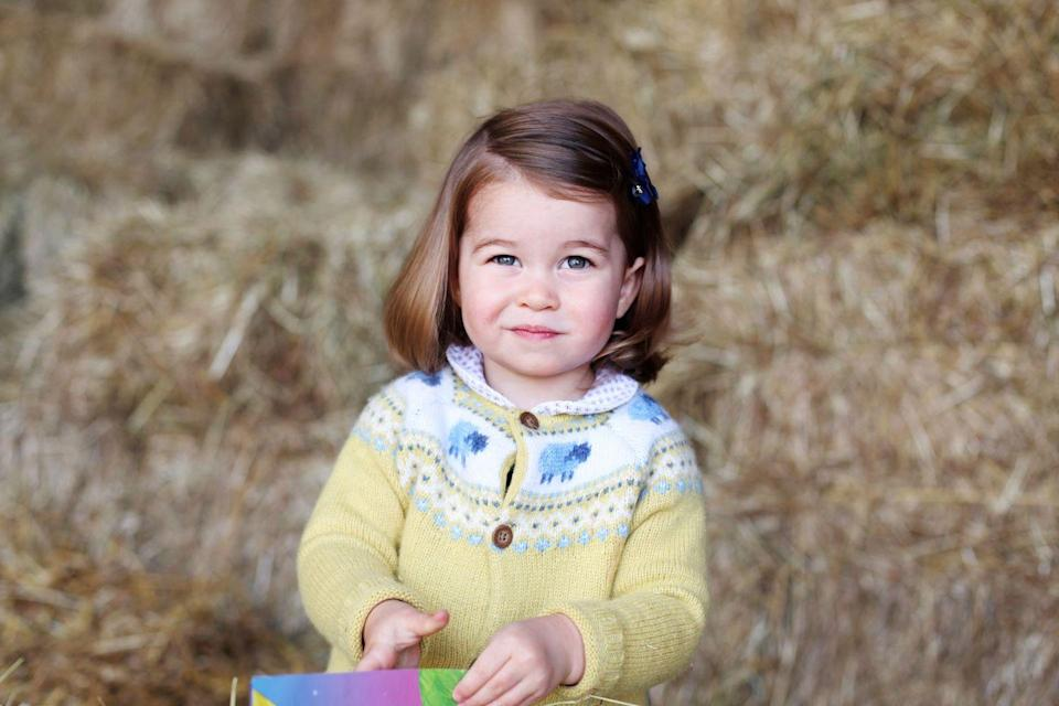 <p>Charlotte sports a knit cardigan with little lambs in a photo taken by her mother, Kate Middleton, the Duchess of Cambridge. According to an official release, the photo was taken at the family's home in Norfolk, England, to celebrate Charlotte's second birthday.</p>