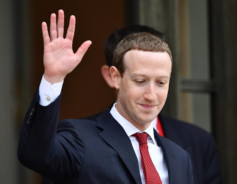 PARIS, FRANCE - MAY 10: Founder and CEO of Facebook Mark Zuckerberg leaves after a meeting with French President Emmanuel Macron (not seen) at the Elysee Palace in Paris, France on May 10, 2019. (Photo by Mustafa Yalcin/Anadolu Agency/Getty Images)