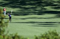 Rory McIlroy of Northern Ireland plays a shot during a practice round prior to the start of the 2017 Masters Tournament, at Augusta National Golf Club in Georgia, on April 4 (AFP Photo/Andrew Redington)