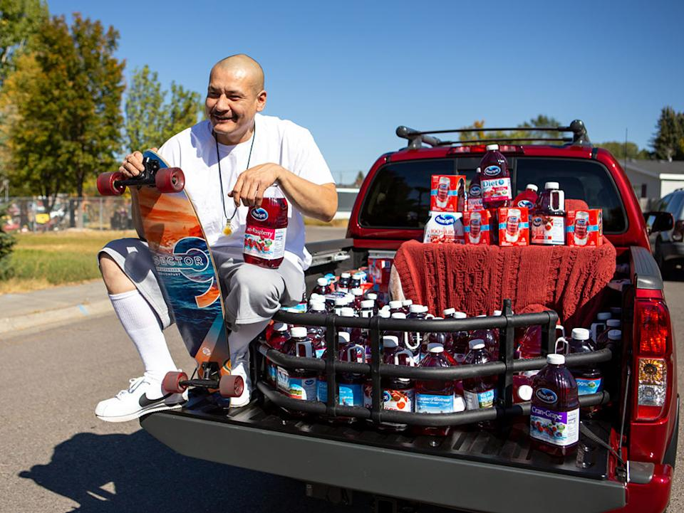 TikTok star Nathan Apodaca, who goes by the handle 420doggface208 on the video sharing site, poses after being gifted a truck by Ocean Spray in Idaho Falls, Idaho, on Oct. 6 . (Photo: MEGA/Getty Images)