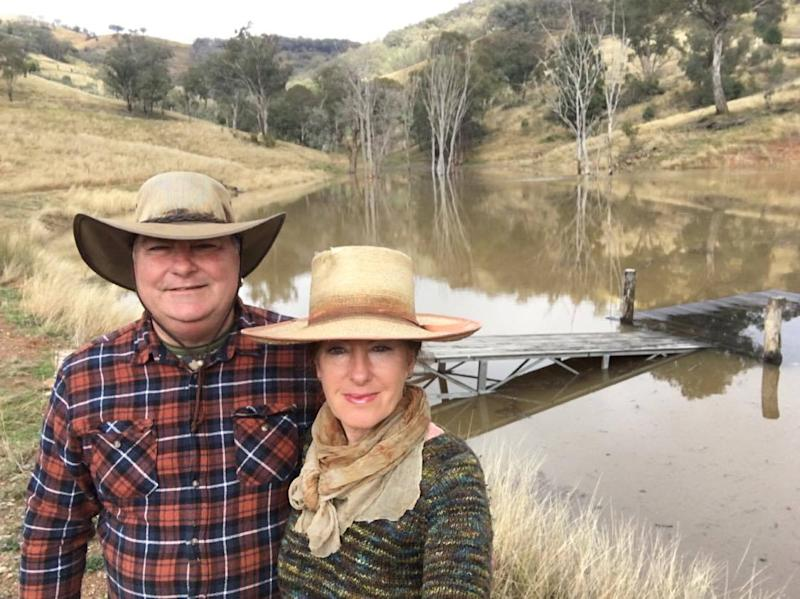 Rod and Leslye Cole pictured at a dam in Ogunbil.