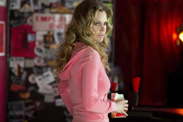 Pam Swynford de Beaufort (Kristin Bauer van Straten) looks pretty in pink during off hours at Fangtasia, the club for those with pointy teeth and the people who love them, which Eric gave to her to run last season after releasing her from her progeny bond.