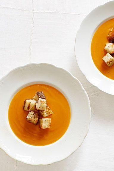 """<p>Grated gruyère, chicken stock, and pumpkin purée (<a href=""""https://www.goodhousekeeping.com/food-recipes/dessert/a22021/homemade-pumpkin-puree-recipe/"""" rel=""""nofollow noopener"""" target=""""_blank"""" data-ylk=""""slk:learn how to make your own!"""" class=""""link rapid-noclick-resp"""">learn how to make your own!</a>) make this soup soar. Add croutons on top for the perfect crunch. </p><p><em><a href=""""https://www.goodhousekeeping.com/food-recipes/a14444/winter-squash-soup-recipe-ghk1113/"""" rel=""""nofollow noopener"""" target=""""_blank"""" data-ylk=""""slk:Get the recipe for Winter Squash Soup »"""" class=""""link rapid-noclick-resp"""">Get the recipe for Winter Squash Soup »</a></em><br></p>"""