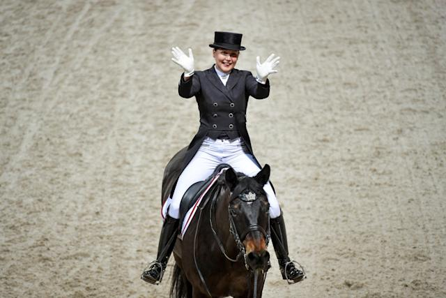 Equestrian - Sweden International Horse Show - FEI Grand Prix Freestyle to Music event - Friends Arena, Stockholm, Sweden - December 3, 2017 - Inessa Merkulova of Russia rides her horse Mister X. TT News Agency/Jessica Gow via REUTERS ATTENTION EDITORS - THIS IMAGE WAS PROVIDED BY A THIRD PARTY. SWEDEN OUT. NO COMMERCIAL OR EDITORIAL SALES IN SWEDEN