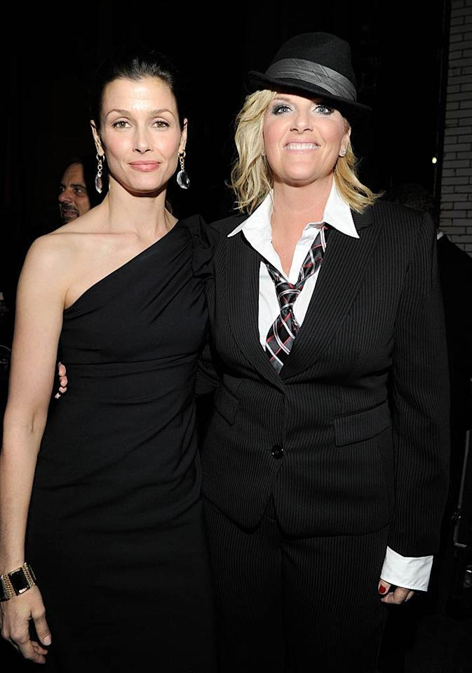 """""""Blue Bloods"""" beauty Bridget Moynahan and country queen Trisha Yearwood popped a pose together at the fete. Yearwood wore a menswear-inspired ensemble while she sang James Brown's song """"It's a Man's Man's Man's World."""" Kevin Mazur/<a href=""""http://www.wireimage.com"""" target=""""new"""">WireImage.com</a> - April 12, 2011"""