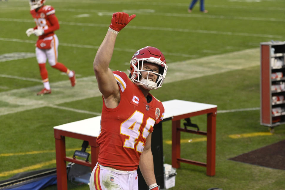 Kansas City Chiefs safety Daniel Sorensen celebrates after an NFL divisional round football game against the Cleveland Browns, Sunday, Jan. 17, 2021, in Kansas City. The Chiefs won 22-17. (AP Photo/Reed Hoffmann)