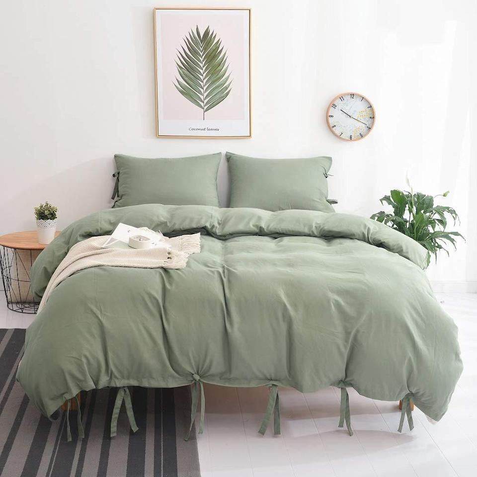 """<h2>Meagle Washed Cotton Duvet Cover</h2><br><br><strong>M&Meagle</strong> Meagle Washed Cotton Duvet Cover, $, available at <a href=""""https://amzn.to/3k1Mqdu"""" rel=""""nofollow noopener"""" target=""""_blank"""" data-ylk=""""slk:Amazon"""" class=""""link rapid-noclick-resp"""">Amazon</a>"""