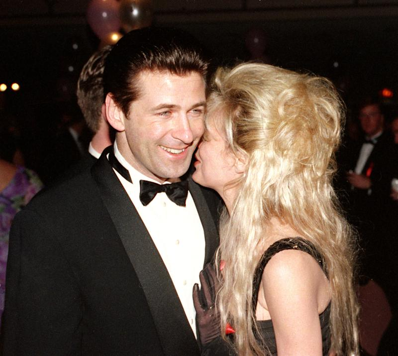 "Actor Alec Baldwin, left, is shown with his wife, actress Kim Basinger, during the Tony Supper Ball following the 46th Annual Tony Awards ceremony in New York City, Sunday, May 31, 1992. Baldwin was nominated as leading actor in 'A Streetcar Named Desire."" (AP Photo/Richard Drew)"