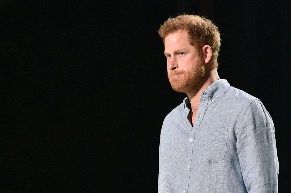 <p>Co-Chair Britain's Prince Harry, Duke of Sussex, arrives to speak onstage during the taping of the