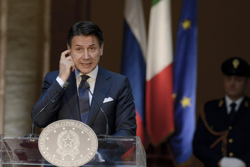 ROME, ITALY - JULY 04: Giuseppe Conte waiting for The President of the Russian Federation, Vladimir Putin at Palazzo Chigi, on July 4, 2019 in Rome, Italy. The President of Russia will hold talks with President of the Italian Republic, Sergio Mattarella, and Italian Prime Minister Giuseppe Conte. During the visit he will also meet the Pope at the Vatican. (Photo by Simona Granati - Corbis/Getty Images)