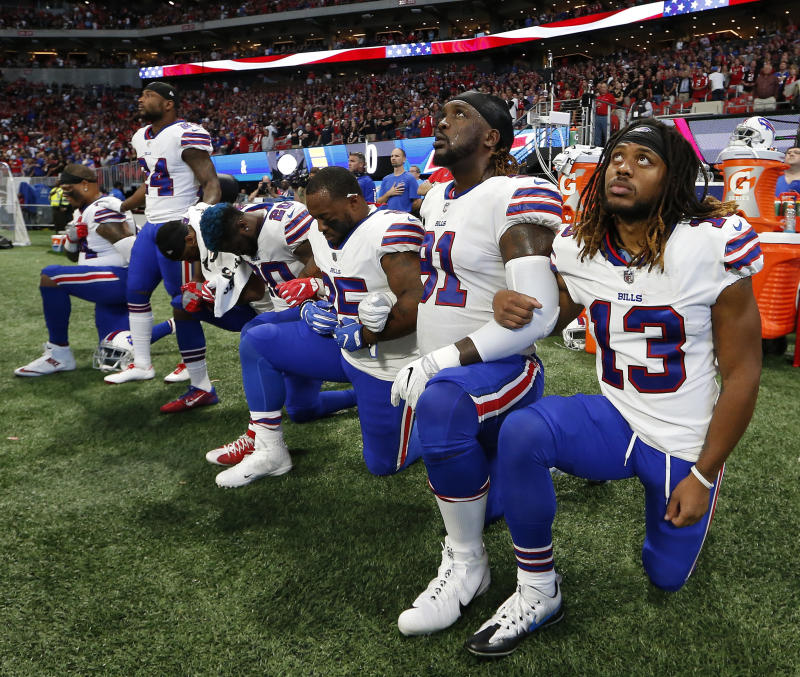 Some players on the Buffalo Bills took a knee during the national anthem on Sunday before a game in Atlanta. (AP)