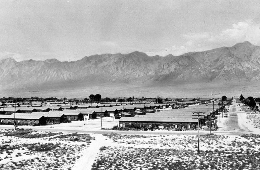 Barracks at Manzanar, where about 10,000 Japanese Americans were interned, as seen in 1942.