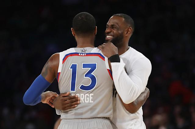 """Landing <a class=""""link rapid-noclick-resp"""" href=""""/nba/players/4725/"""" data-ylk=""""slk:Paul George"""">Paul George</a> would probably make LeBron James a very happy camper. (Getty Images)"""