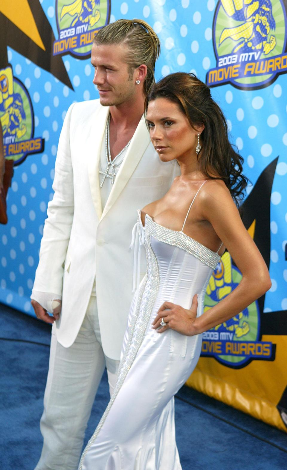 <p><strong>The specs: </strong>In the year 2003, David and Victoria made a now-iconic appearance at the MTV Awards where Victoria appeared to have upgraded her eternity band for something slightly heavier. <br><strong>The price: </strong>Not known.<br>[Photo: Getty] </p>