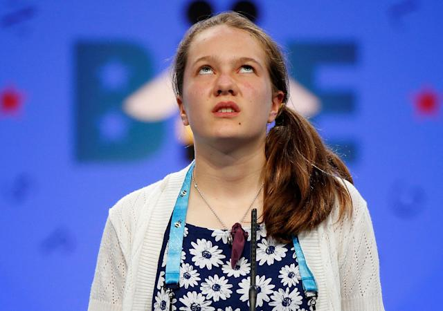 <p>Sheridan Hennessy, 11, of Cincinnati, Ohio, contemplates a word during the 2017 Scripps National Spelling Bee at National Harbor in Oxon Hill, Maryland, U.S., May 31, 2017. (Joshua Roberts/Reuters) </p>