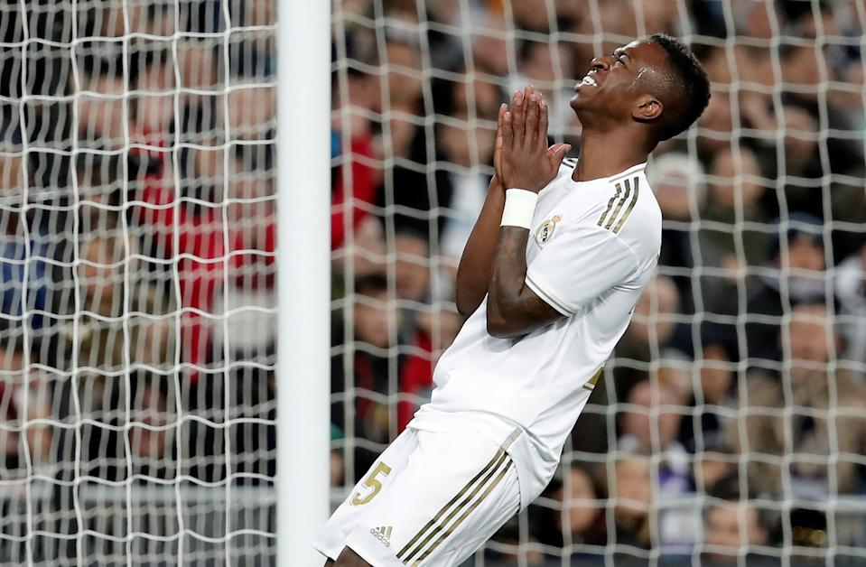 MADRID, SPAIN - DECEMBER 22: Vinicius Junior of Real Madrid gestures after missing a chance to score during the La Liga match between Real Madrid and Athletic de Bilbao at the Santiago Bernabeu on December 22, 2019 in Madrid, Spain. (Photo by Burak Akbulut/Anadolu Agency via Getty Images)